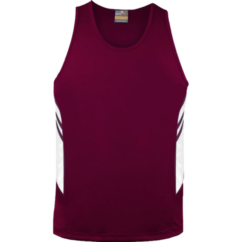 Mens Tasman Singlet - Colours Maroon / White