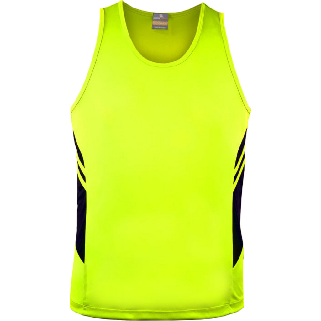 Mens Tasman Singlet, Colours: Neon Yellow / Black