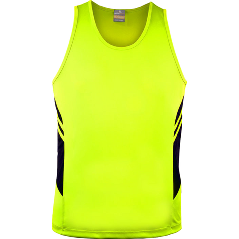 Image of Mens Tasman Singlet, Colours: Neon Yellow / Black