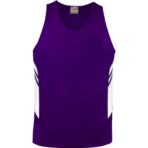 Mens Tasman Singlet, Colours: Purple / White