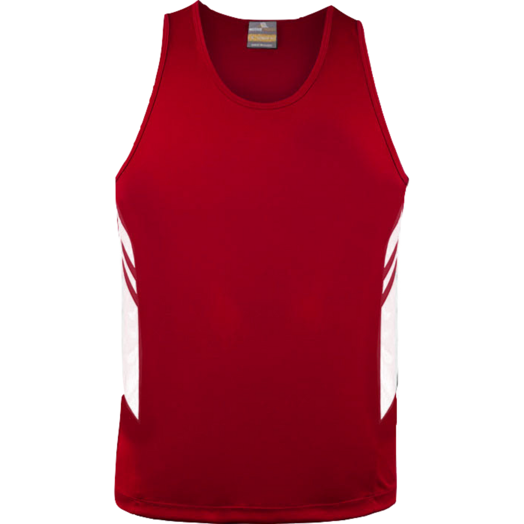 Mens Tasman Singlet, Colours: Red / White