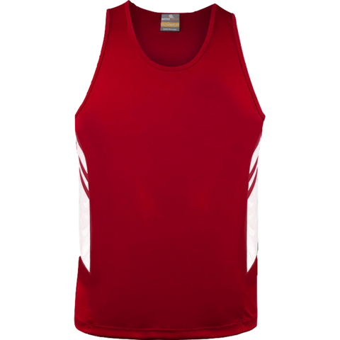 Image of Mens Tasman Singlet, Colours: Red / White
