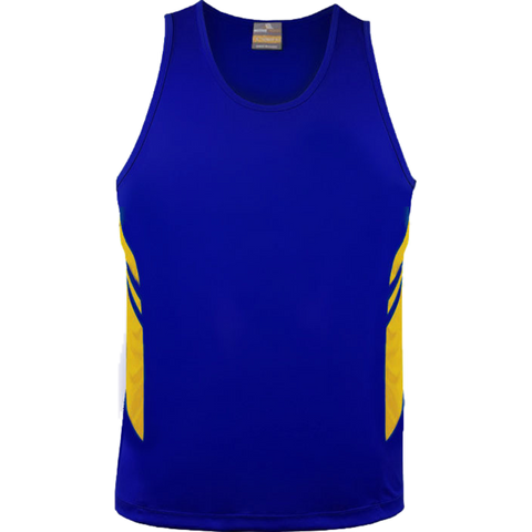 Mens Tasman Singlet, Colours: Royal / Gold