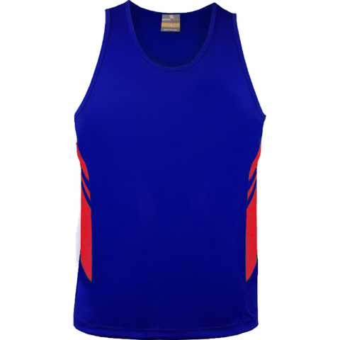 Mens Tasman Singlet, Colours: Royal / Red