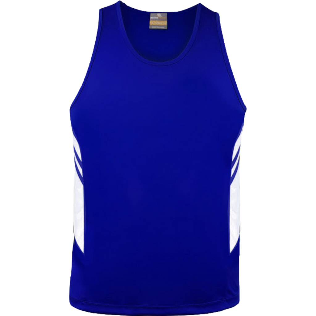Mens Tasman Singlet, Colours: Royal / White