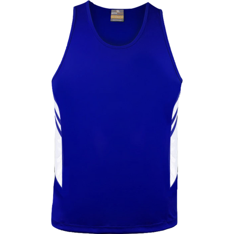 Image of Mens Tasman Singlet, Colours: Royal / White