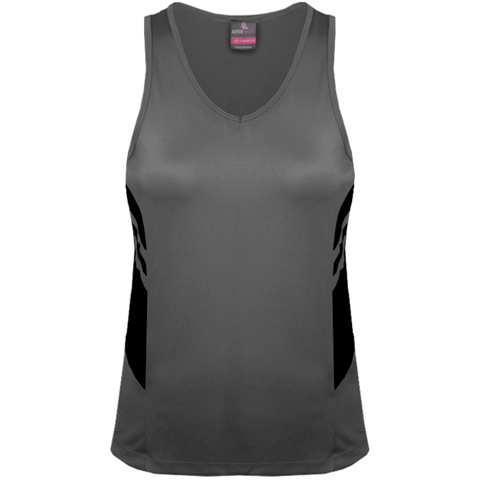 Womens Tasman Singlet, Colours: Ashe / Black
