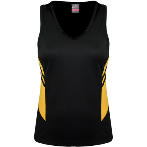 Womens Tasman Singlet, Colours: Black / Gold