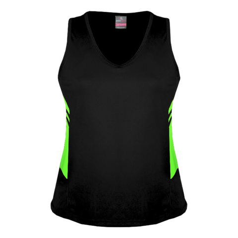 Womens Tasman Singlet, Colours: Black / Neon Green