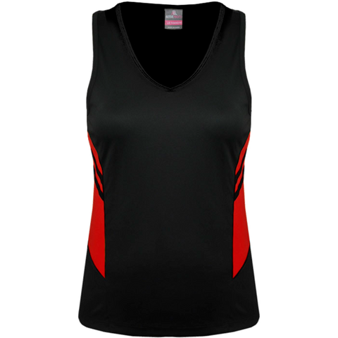 Womens Tasman Singlet, Colours: Black / Red