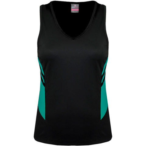 Womens Tasman Singlet, Colours: Black / Teal