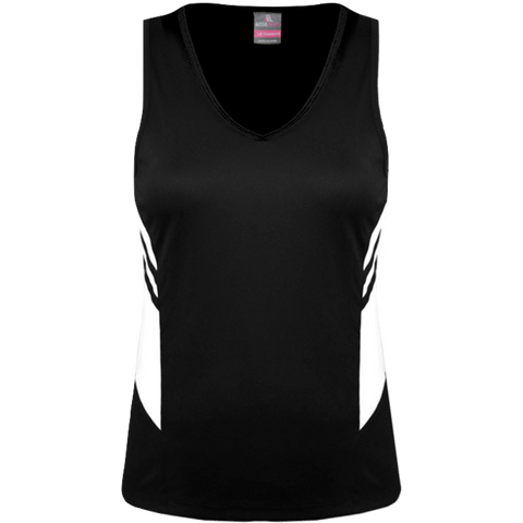 Womens Tasman Singlet, Colours: Black / White