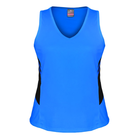 Womens Tasman Singlet, Colours: Cyan / Black