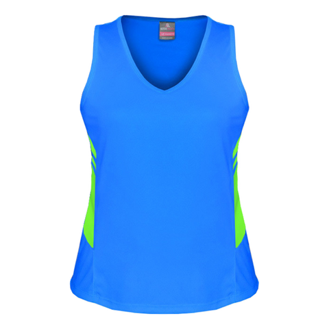 Womens Tasman Singlet, Colours: Cyan / Neon Green
