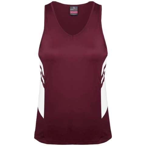 Womens Tasman Singlet, Colours: Maroon / White