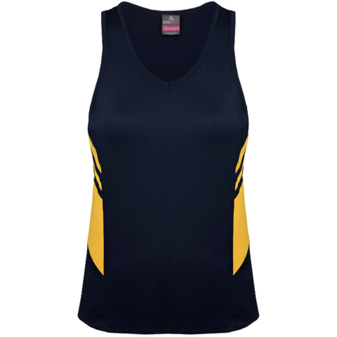 Image of Womens Tasman Singlet, Colours: Navy / Gold