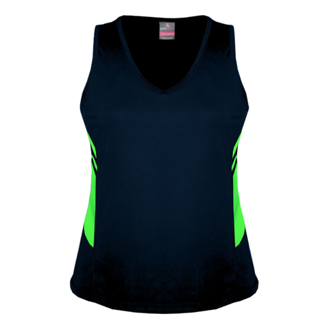 Image of Womens Tasman Singlet, Colours: Navy / Neon Green