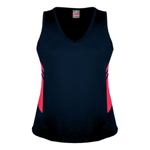 Womens Tasman Singlet - Colours Navy / Neon Pink