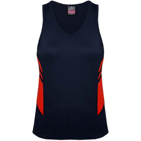 Womens Tasman Singlet, Colours: Navy / Red