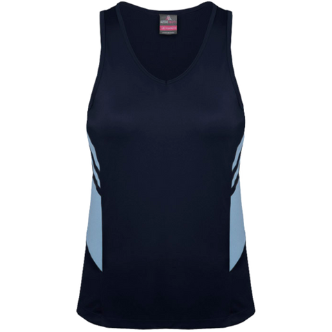 Womens Tasman Singlet, Colours: Navy / Sky