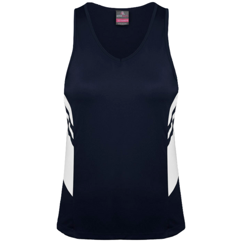 Womens Tasman Singlet, Colours: Navy / White
