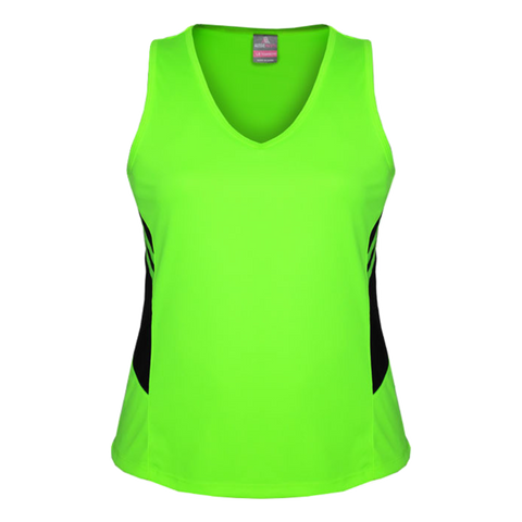 Womens Tasman Singlet, Colours: Neon Green / Black