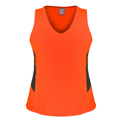 Womens Tasman Singlet, Colours: Neon Orange / Slate