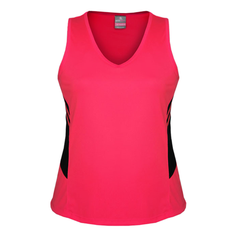 Womens Tasman Singlet, Colours: Neon Pink / Black