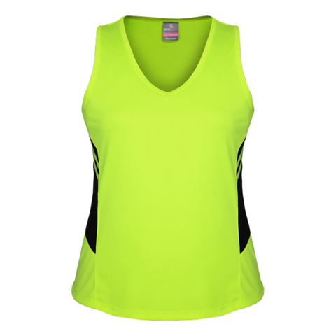 Womens Tasman Singlet, Colours: Neon Yellow / Black