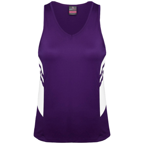 Womens Tasman Singlet, Colours: Purple / White