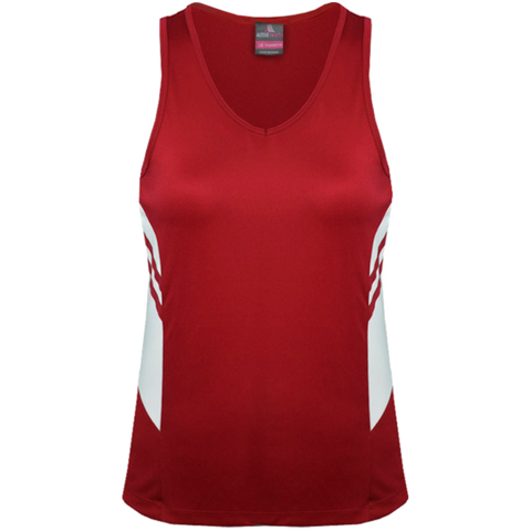 Womens Tasman Singlet, Colours: Red / White