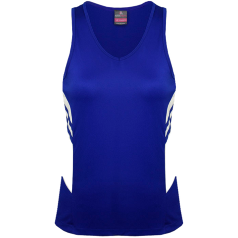Womens Tasman Singlet, Colours: Royal / White