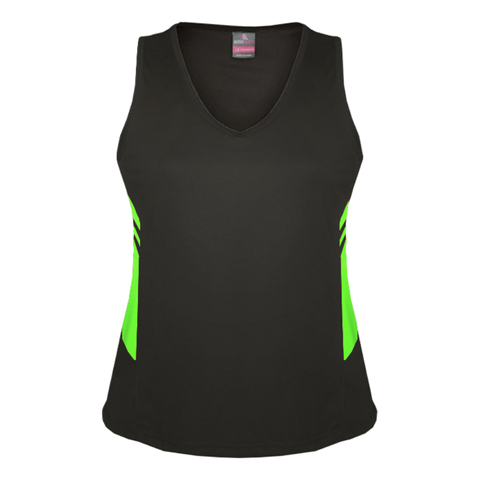 Womens Tasman Singlet, Colours: Slate / Neon Green