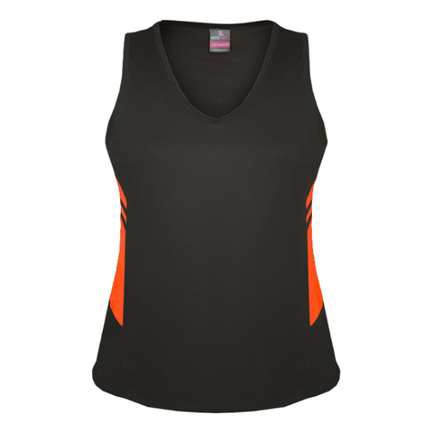Womens Tasman Singlet, Colours: Slate / Neon Orange