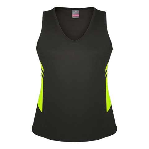Image of Womens Tasman Singlet, Colours: Slate / Neon Yellow