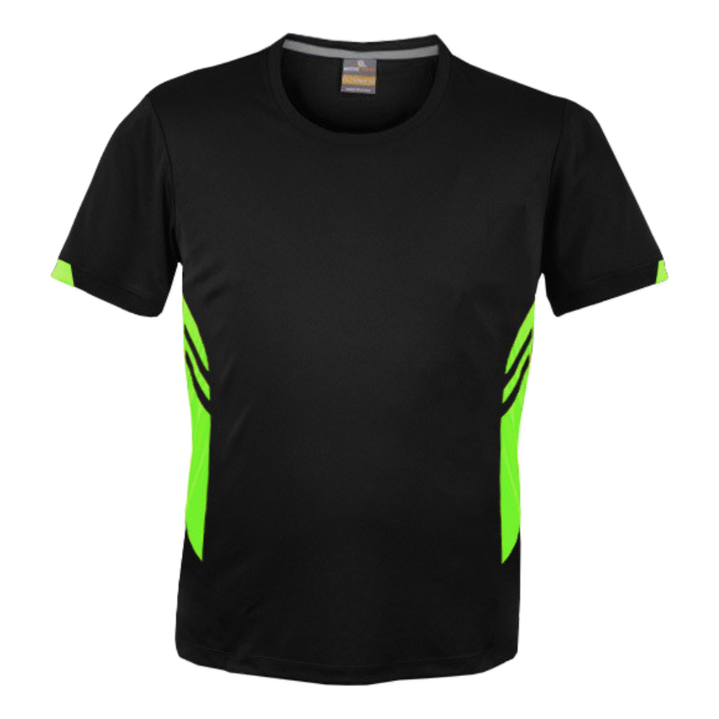 Mens Tasman Tee - Colours Black / Neon Green