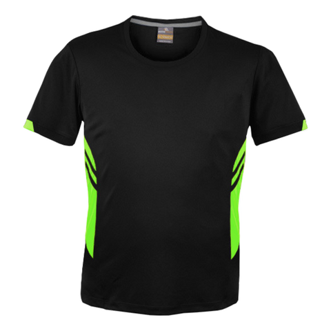 Image of Mens Tasman Tee - Colours Black / Neon Green