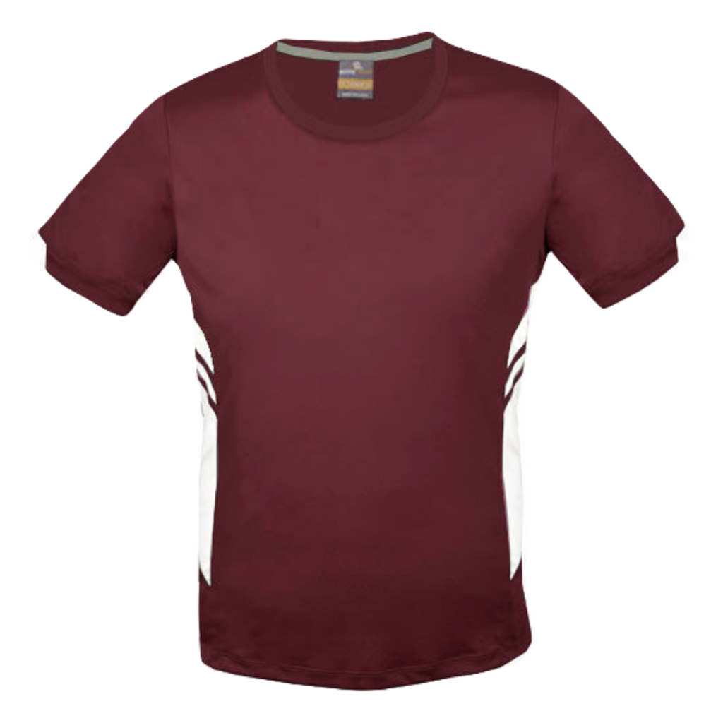 Mens Tasman Tee - Colours Maroon / White