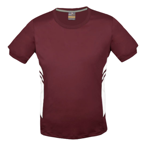 Image of Mens Tasman Tee - Colours Maroon / White