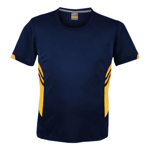 Image of Mens Tasman Tee, Colours: Navy / Gold