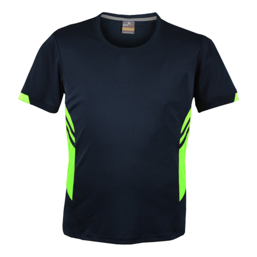 Mens Tasman Tee - Colours Navy / Neon Green
