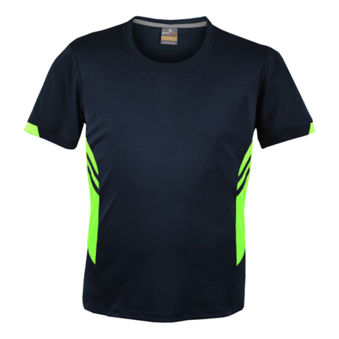 Image of Mens Tasman Tee - Colours Navy / Neon Green