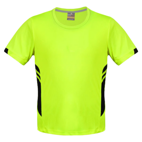 Image of Mens Tasman Tee - Colours Neon Yellow / Black
