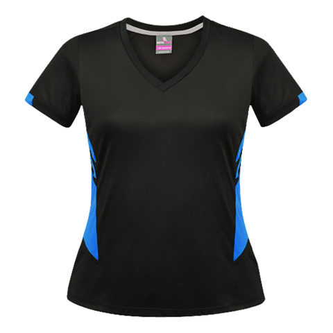 Image of Womens Tasman Tee - Colours Black / Cyan