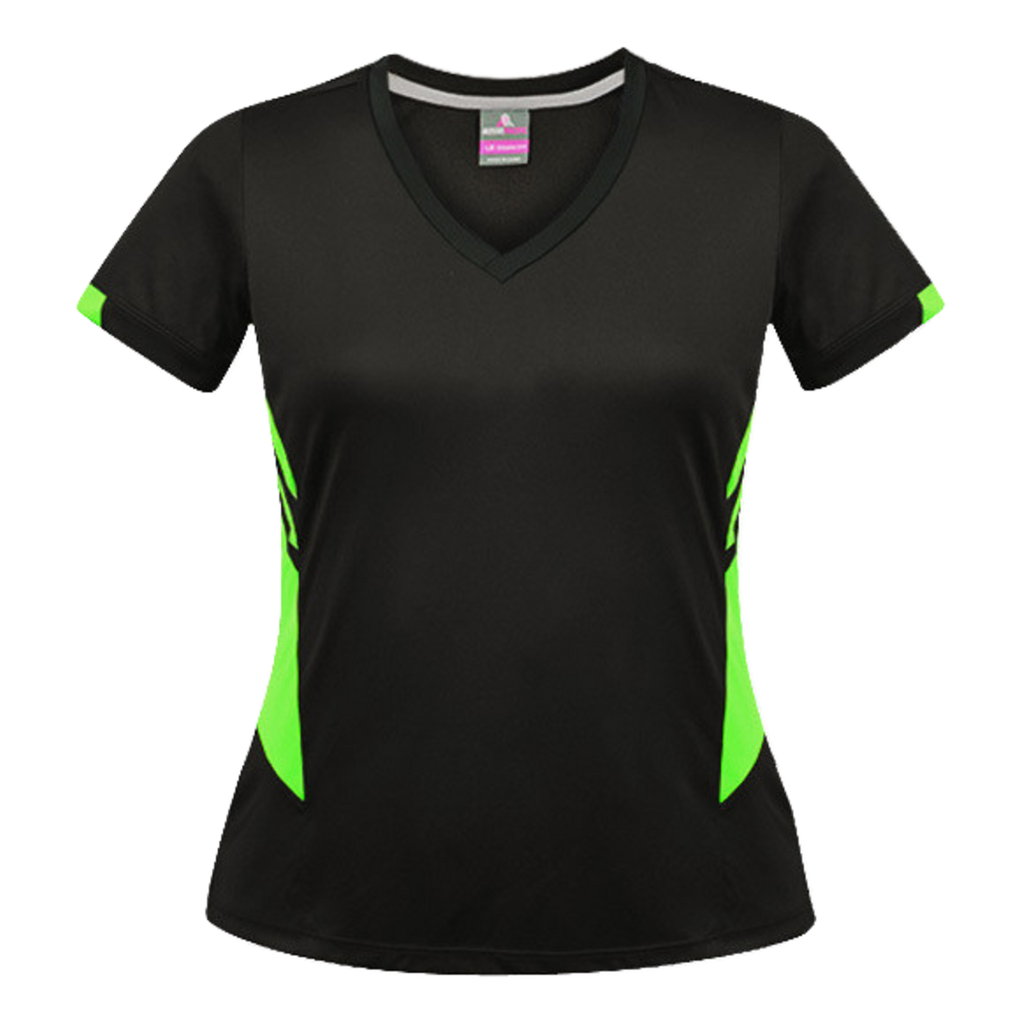 Womens Tasman Tee, Colours: Black / Neon Green