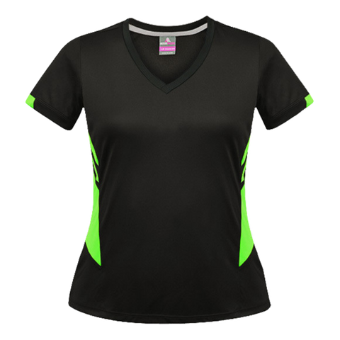 Image of Womens Tasman Tee - Colours Black / Neon Green