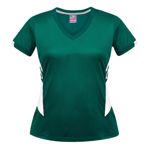 Image of Womens Tasman Tee, Colours: Bottle / White