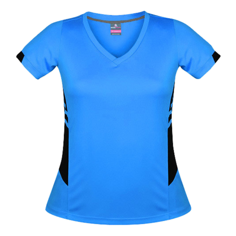 Image of Womens Tasman Tee, Colours: Cyan / Black