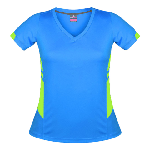 Image of Womens Tasman Tee - Colours Cyan / Neon Green