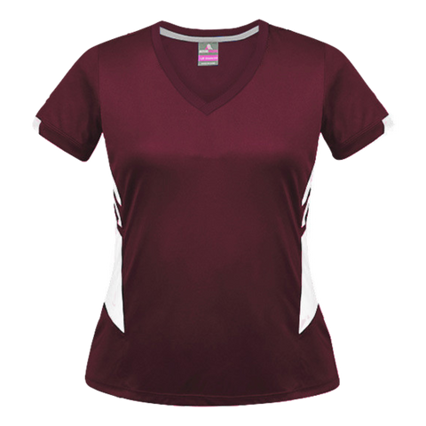 Womens Tasman Tee - Colours Maroon / White